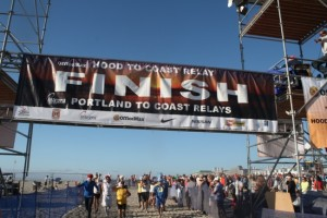 The Hood -to-Coast finish line in Seaside, in just 9 miles north of Cannon Beach.